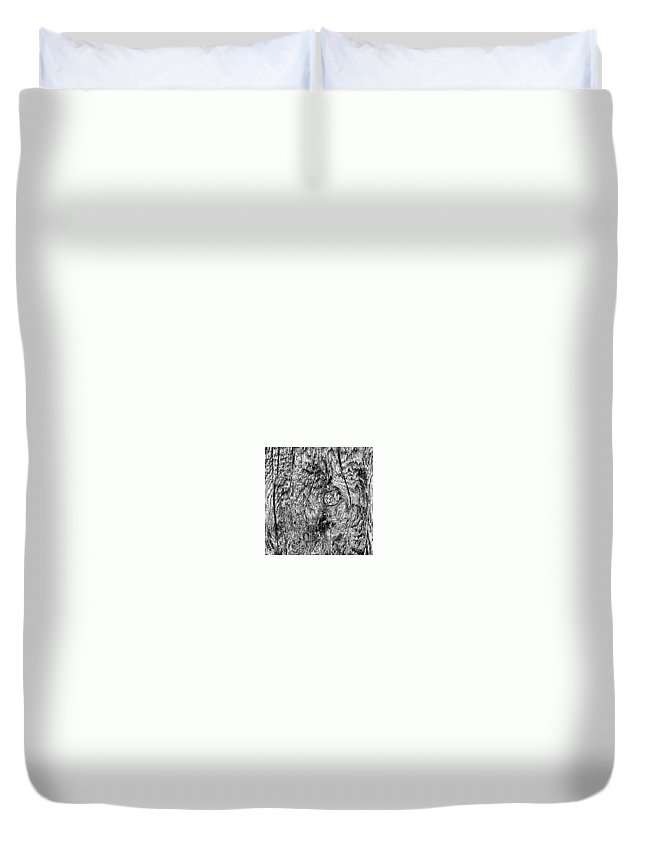 Beautiful Duvet Cover featuring the photograph Wooden Post B 'n' W by J Love