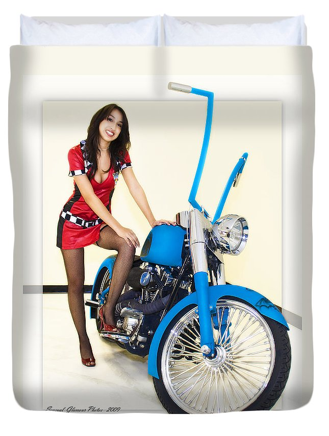 Models & Motorcycles Duvet Cover featuring the photograph Models And Motorcycles by Walter Herrit