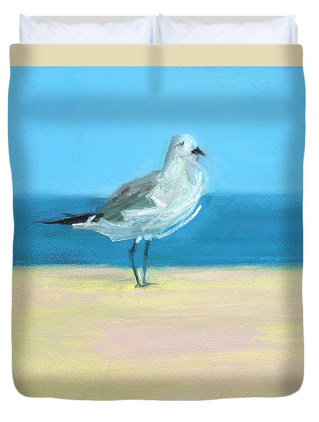 Seagull Duvet Cover featuring the painting Rcnpaintings.com by Chris N Rohrbach