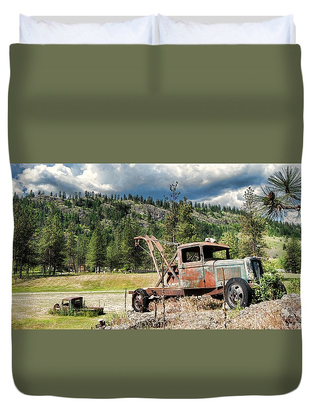 Tow Duvet Cover featuring the photograph 24 7 365 Towing by Allan Van Gasbeck