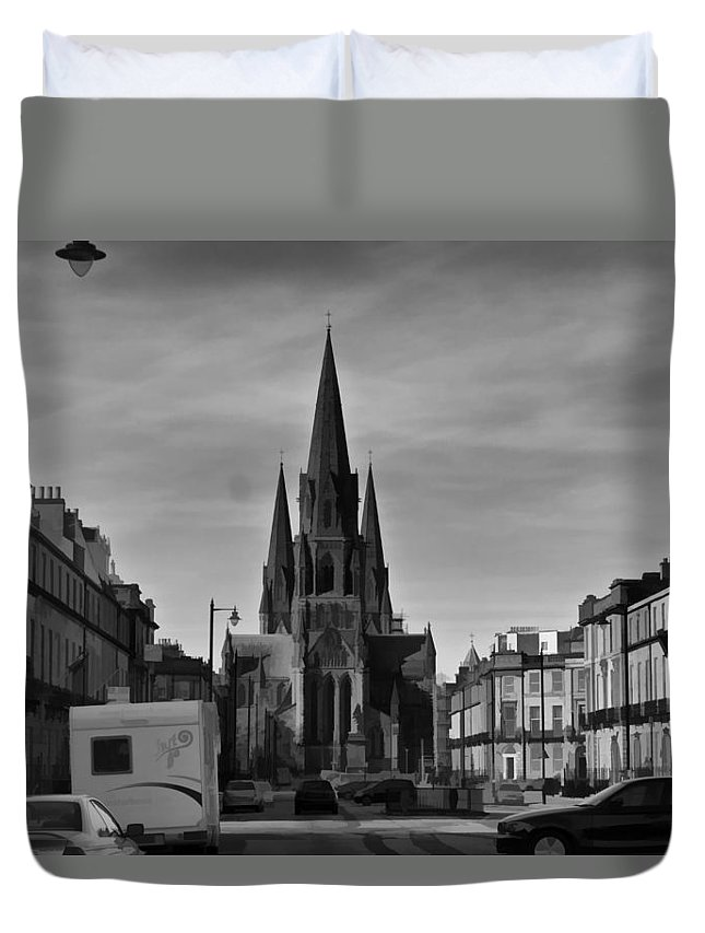 Architecture Duvet Cover featuring the digital art View Of Episcopal Cathedral In Edinburgh by Ashish Agarwal