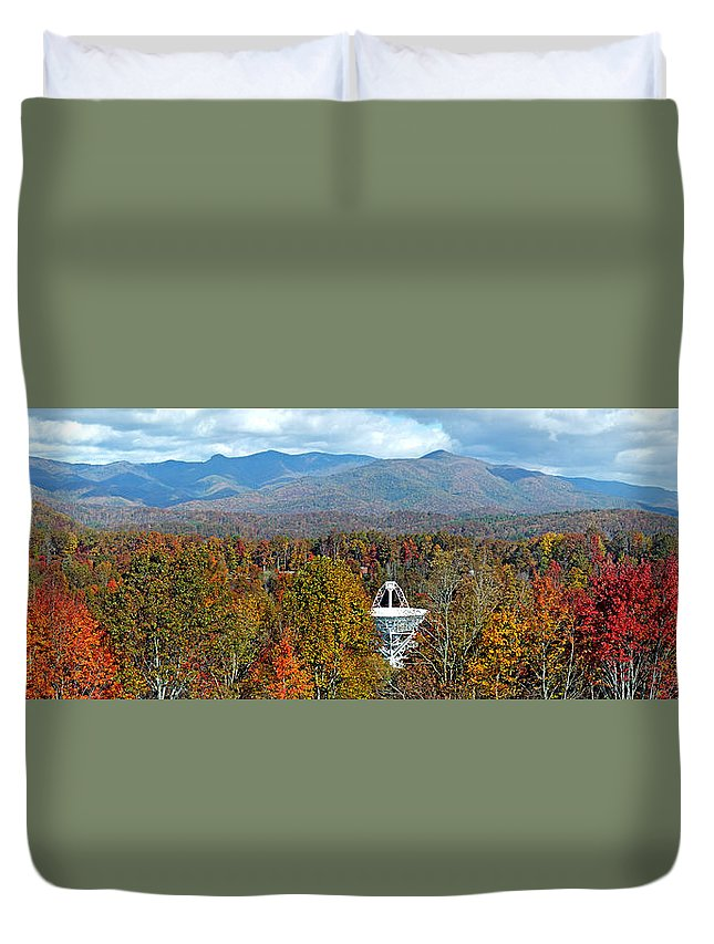 Duane Mccullough Duvet Cover featuring the photograph 26 East And The Blueridge Panoramic by Duane McCullough