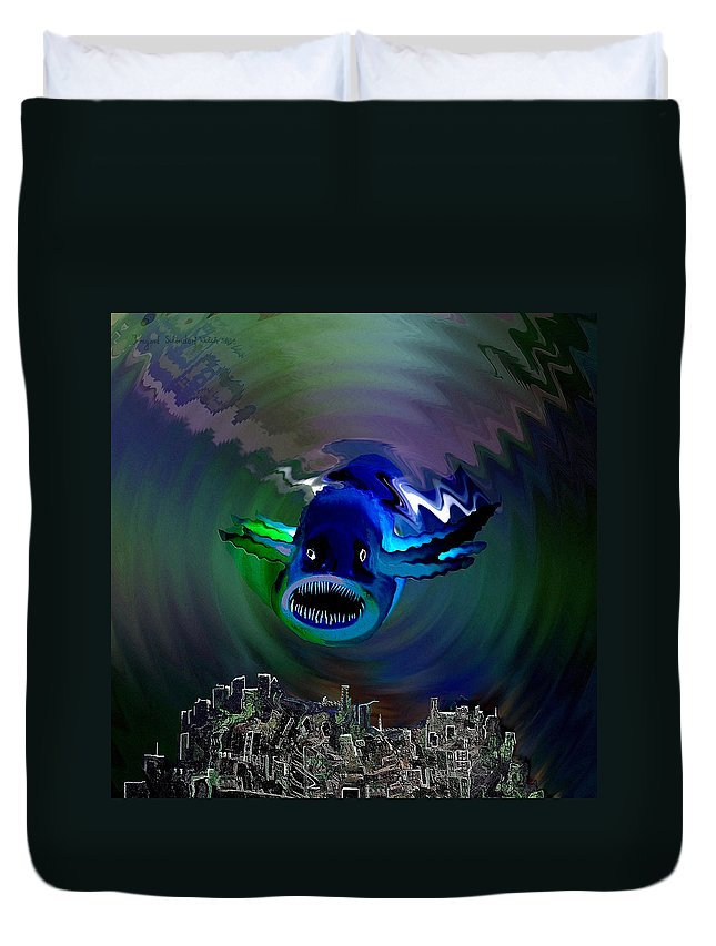 Atlantis Duvet Cover featuring the digital art 278 -  The Custodian Of Atlantis by Irmgard Schoendorf Welch