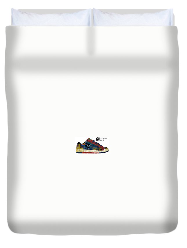 Duvet Cover featuring the drawing Shoe by Keith Spence