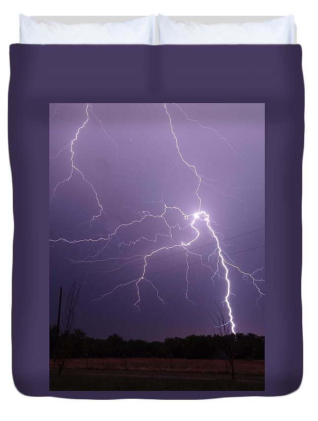Lightning Duvet Cover featuring the photograph 2922 by Onyx Armstrong