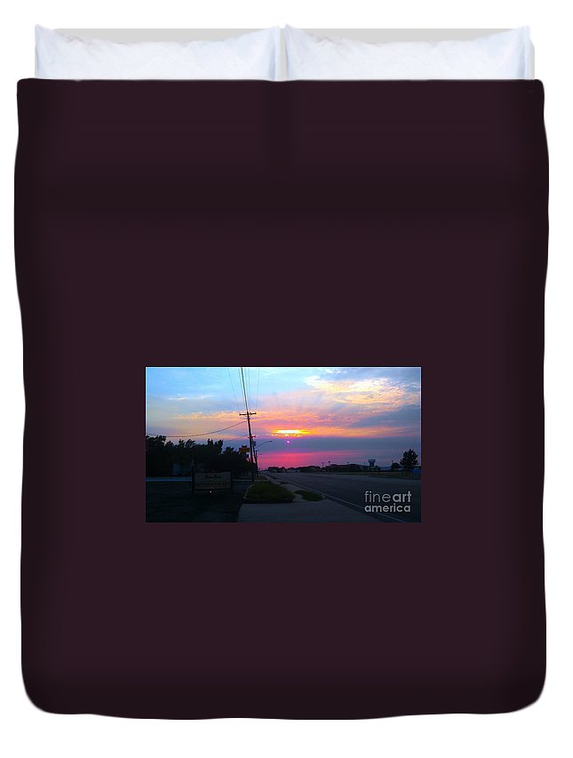 Sunset Duvet Cover featuring the photograph 2suns Or ? by L L L