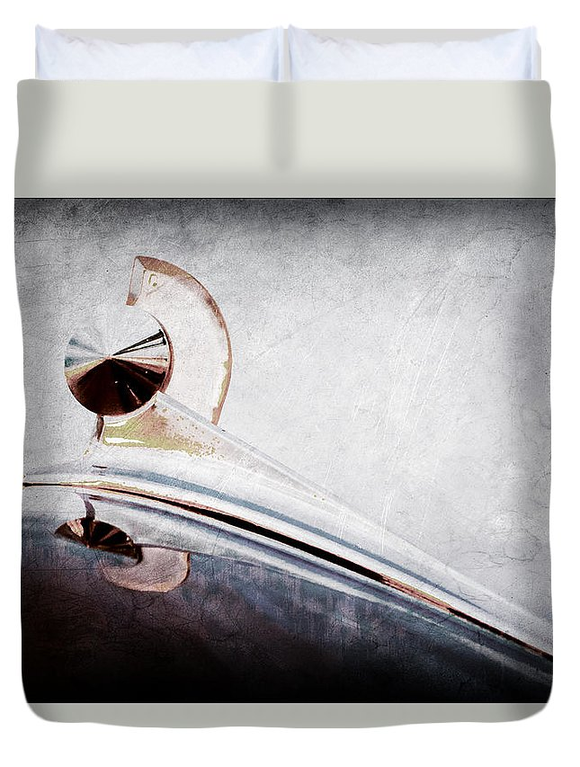 1949 Ford Hood Ornament Duvet Cover featuring the photograph 1949 Ford Hood Ornament by Jill Reger