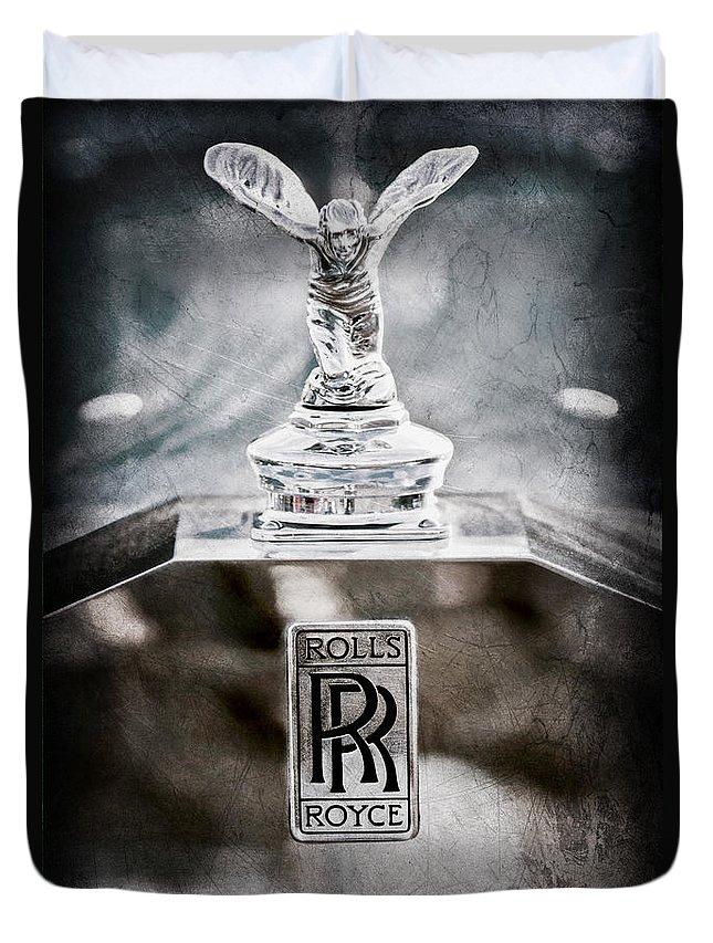 1952 Rolls-royce Hood Ornament Duvet Cover featuring the photograph 1952 Rolls-royce Hood Ornament by Jill Reger
