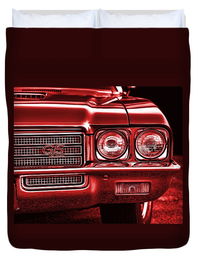 Red Duvet Cover featuring the photograph 1971 Buick Gs by Gordon Dean II