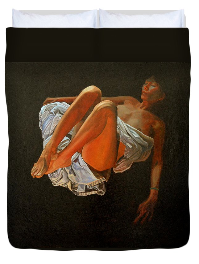 Oil-painting Duvet Cover featuring the painting 3 30 Am by Thu Nguyen