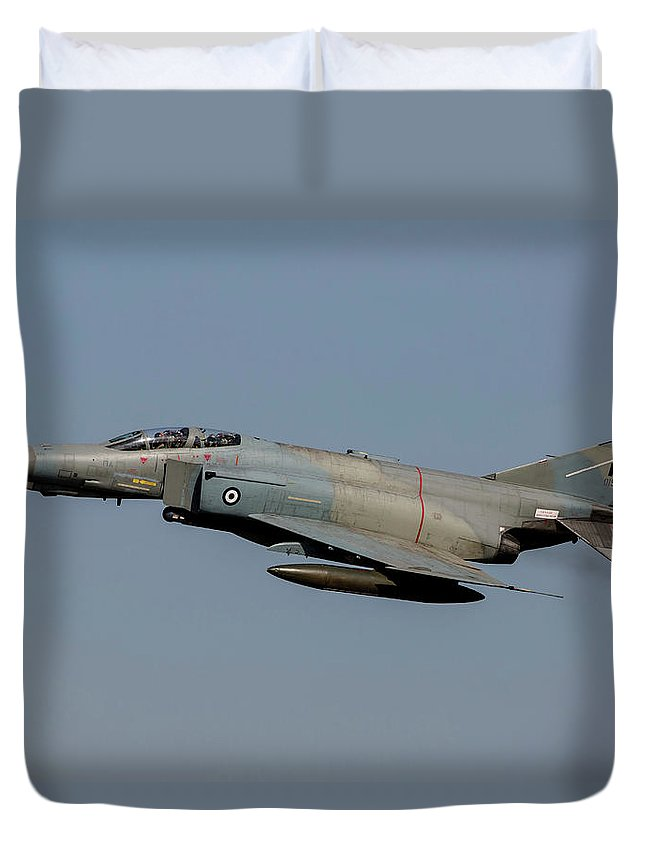 Greece Duvet Cover featuring the photograph A Hellenic Air Force F-4e Phantom by Timm Ziegenthaler