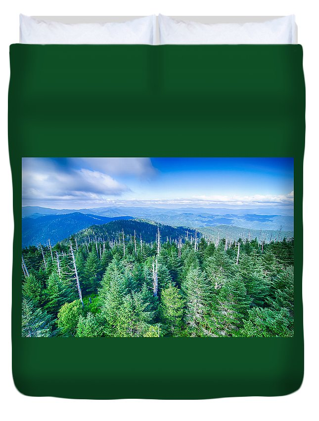 Great Duvet Cover featuring the photograph A Wide View Of The Great Smoky Mountains From The Top Of Clingma by Alex Grichenko