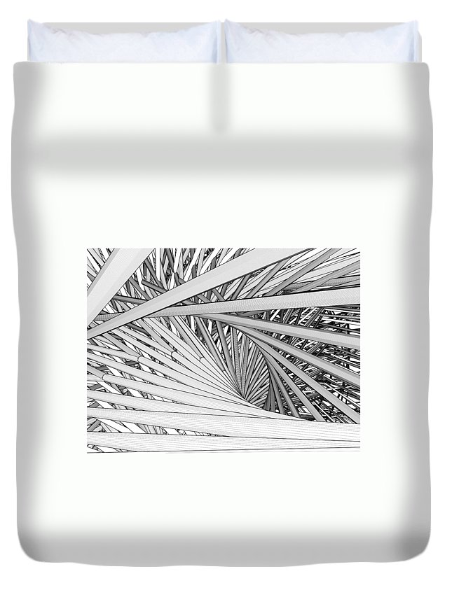 Urban Duvet Cover featuring the digital art Abstract Urban City Building In Chaos by Nenad Cerovic