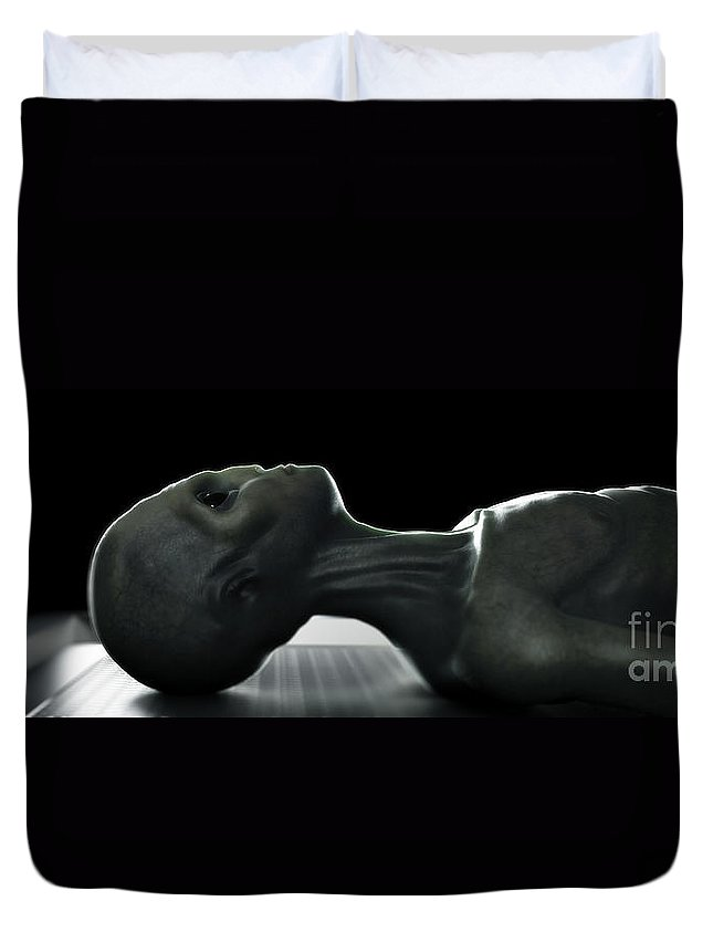 Alien Duvet Cover featuring the photograph Alien Autopsy by Science Picture Co