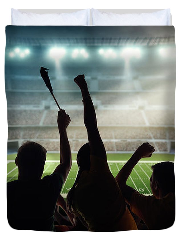 Event Duvet Cover featuring the photograph American Football Fans At Stadium by Dmytro Aksonov