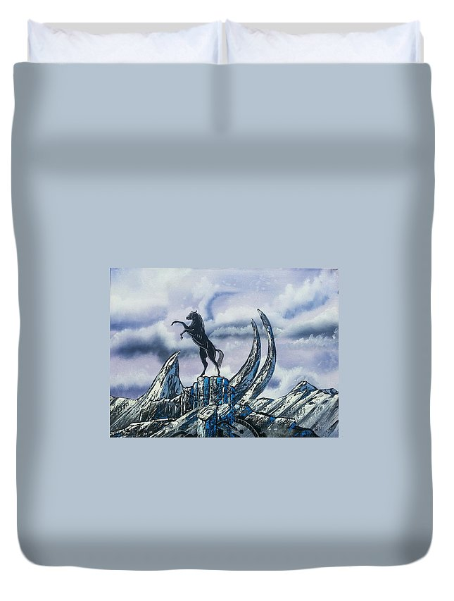 Stallion Duvet Cover featuring the painting Arctic Stallion by Jody Poehl