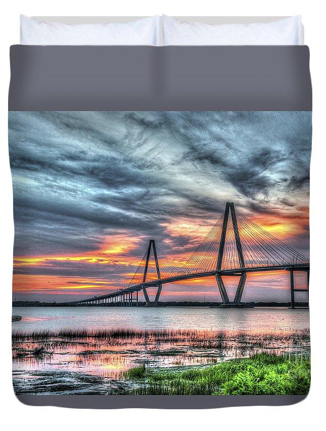 Arthur Ravenel Bridge Duvet Cover featuring the photograph Arthur Ravenel Bridge Stormy Skies by Dale Powell