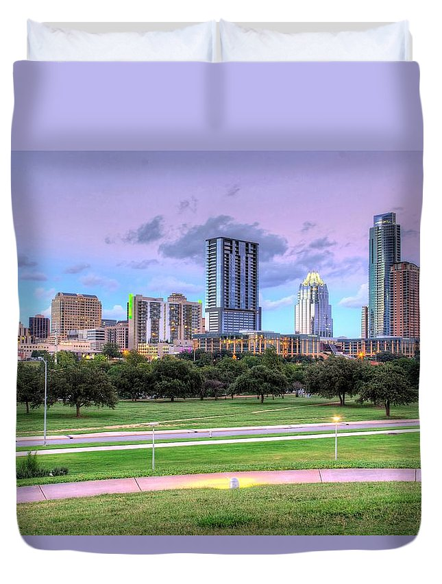 Skyline Duvet Cover featuring the photograph Austin At Twilight by Dave Files