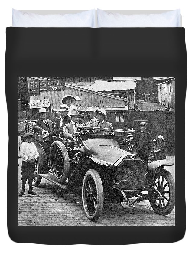 1910 Duvet Cover featuring the photograph Automobile, C1915 by Granger