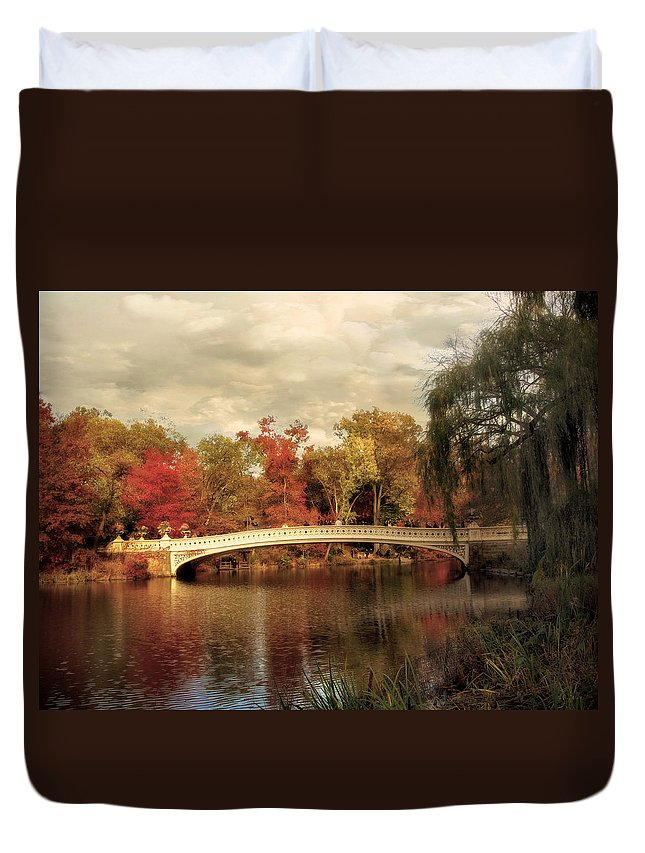 Nature Duvet Cover featuring the photograph Autumn At Bow Bridge by Jessica Jenney