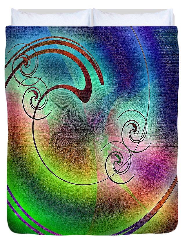 Abstract Duvet Cover featuring the digital art Balance by Iris Gelbart