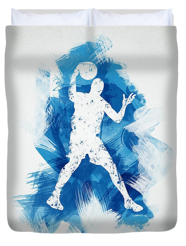 Abstract Duvet Cover featuring the digital art Basketball Player by Aged Pixel