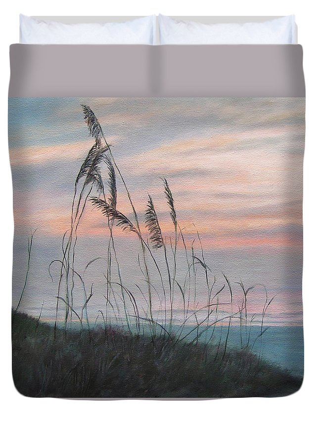 Beach Duvet Cover featuring the painting Beach Morning View by Patty Weeks