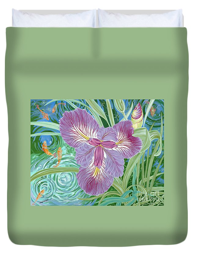 Purple Iris Flower And Buds Duvet Cover featuring the painting Beverly by John Wilson