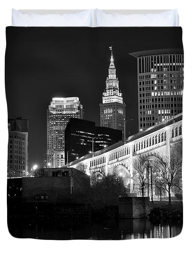 Cleveland Duvet Cover featuring the photograph Black And White Cleveland Iconic Scene by Frozen in Time Fine Art Photography