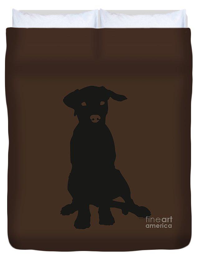 Silhouette Duvet Cover featuring the digital art Black Labrador by Elizabeth Harshman