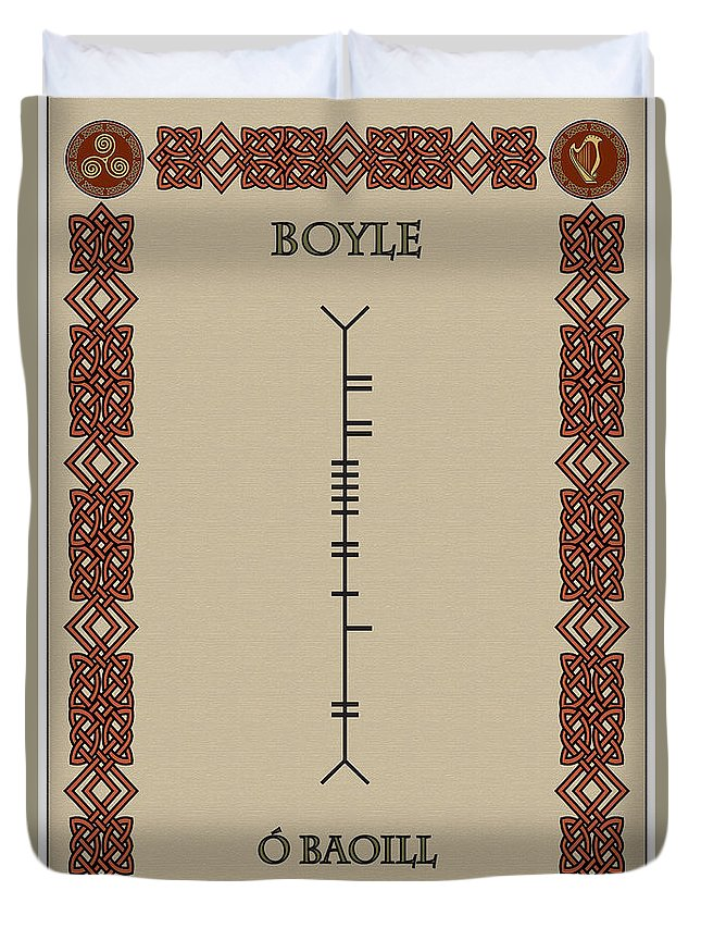 Boyle Duvet Cover featuring the digital art Boyle Written In Ogham by Ireland Calling