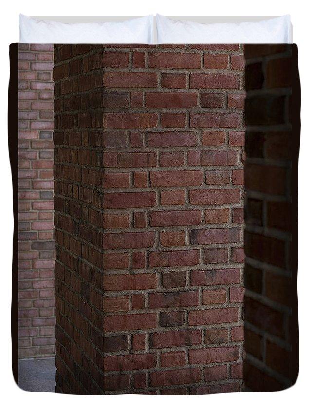 Everett Duvet Cover featuring the photograph Brick Columns by Jim Corwin