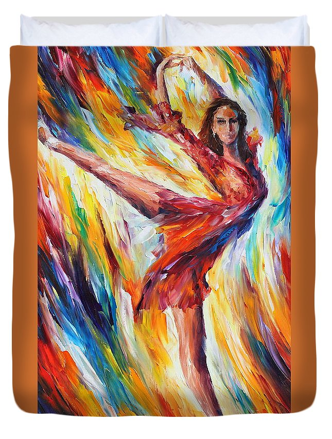 Dance Duvet Cover featuring the painting Candle Fire by Leonid Afremov