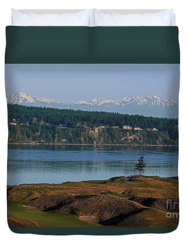 Chambers Bay Golf Course Duvet Cover featuring the photograph Chambers Bay Golf Course - University Place - Washington by Yefim Bam