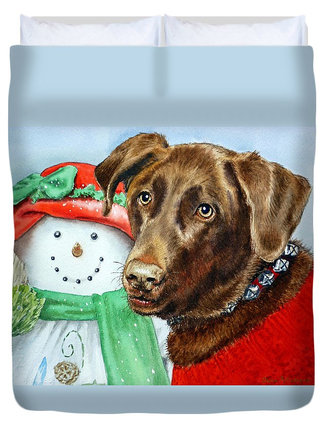 Labrador Duvet Cover featuring the painting Christmas by Irina Sztukowski