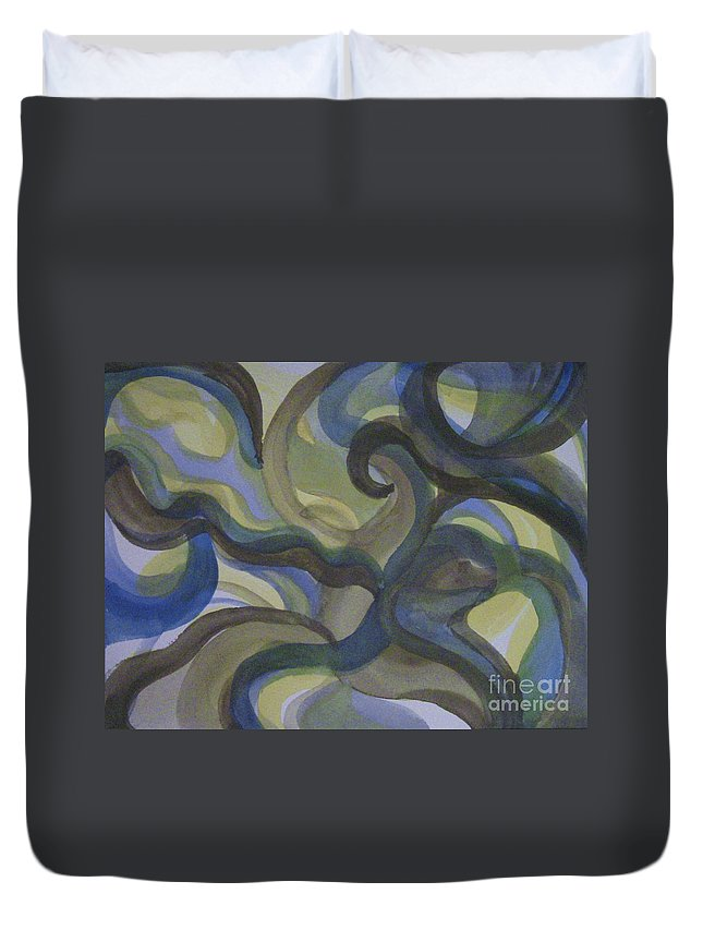 Abstract Duvet Cover featuring the painting 3 Color Study #3 by Lori Bace