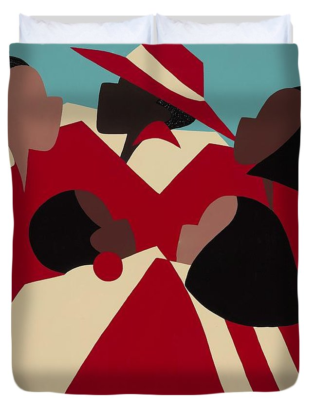 African American Duvet Cover featuring the painting Crimson And Cream by Synthia SAINT JAMES