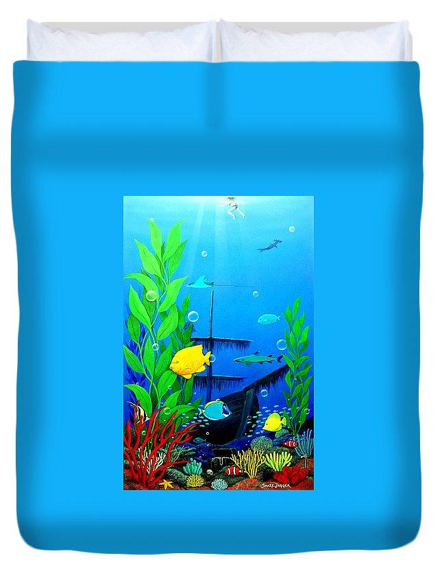 Aquaruim Duvet Cover featuring the painting 3-d Aquarium by Snake Jagger
