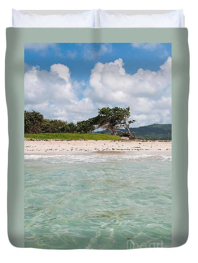 Beach Duvet Cover featuring the photograph Deserted Beach At Vieux Fort by Luis Alvarenga