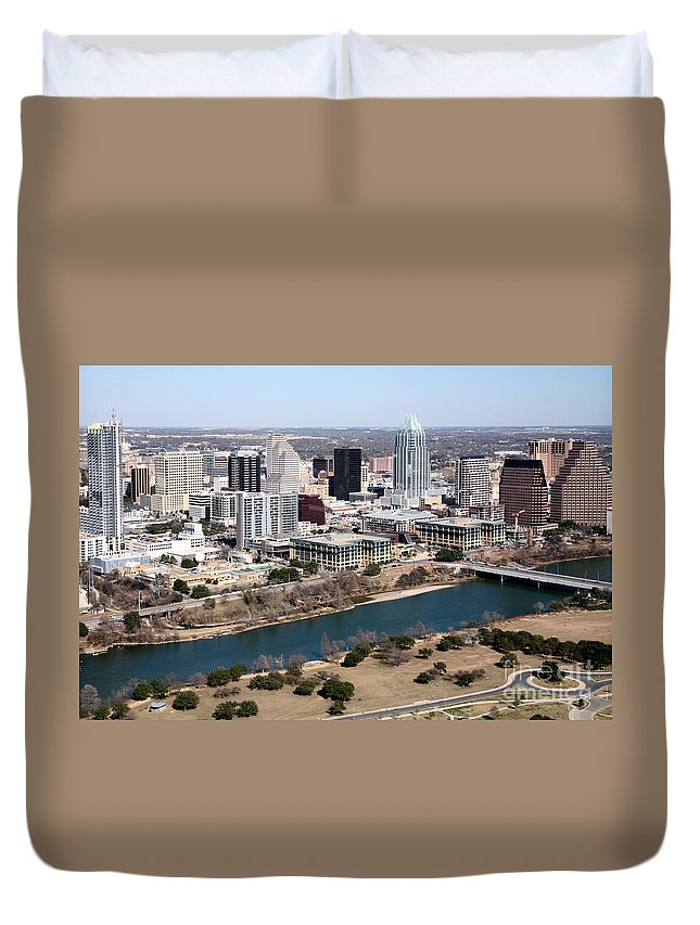 1st Street Duvet Cover featuring the photograph Downtown Austin by Bill Cobb