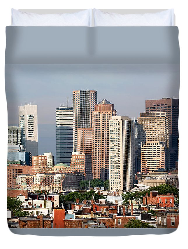 International Place Duvet Cover featuring the photograph Downtown Boston Skyline by Bill Cobb