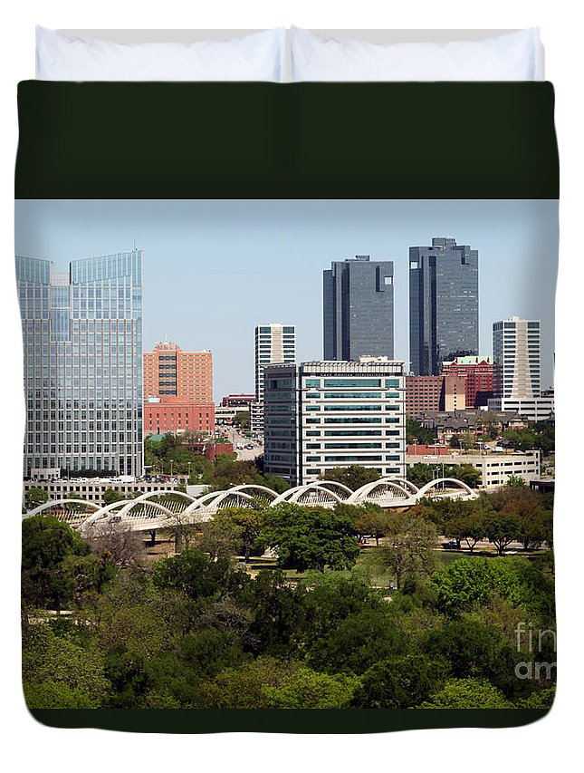 Bridge Duvet Cover featuring the photograph Downtown Fort Worth Texas by Bill Cobb