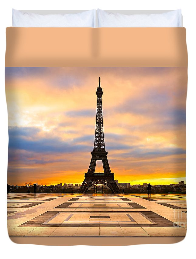 Ancient Duvet Cover featuring the photograph Eiffel Tower - Paris by Luciano Mortula