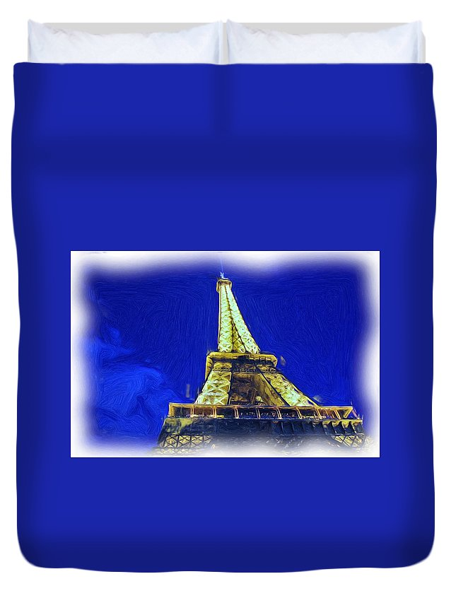 Digital Painting Duvet Cover featuring the photograph Eiffel Tower by Allen Beatty