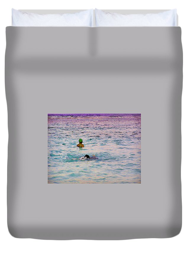 Action Duvet Cover featuring the digital art Enjoying The Water In The Coral Reef Lagoon by Ashish Agarwal