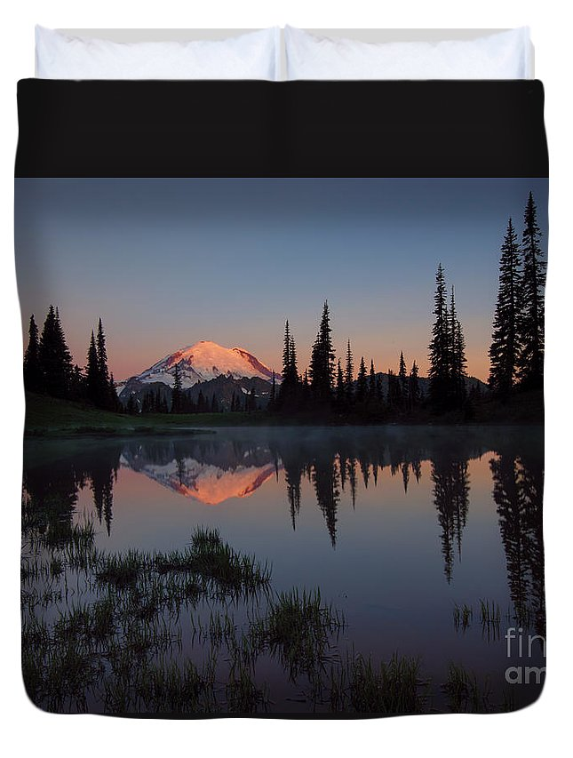 Mt. Rainier Duvet Cover featuring the photograph First Light by Mike Dawson