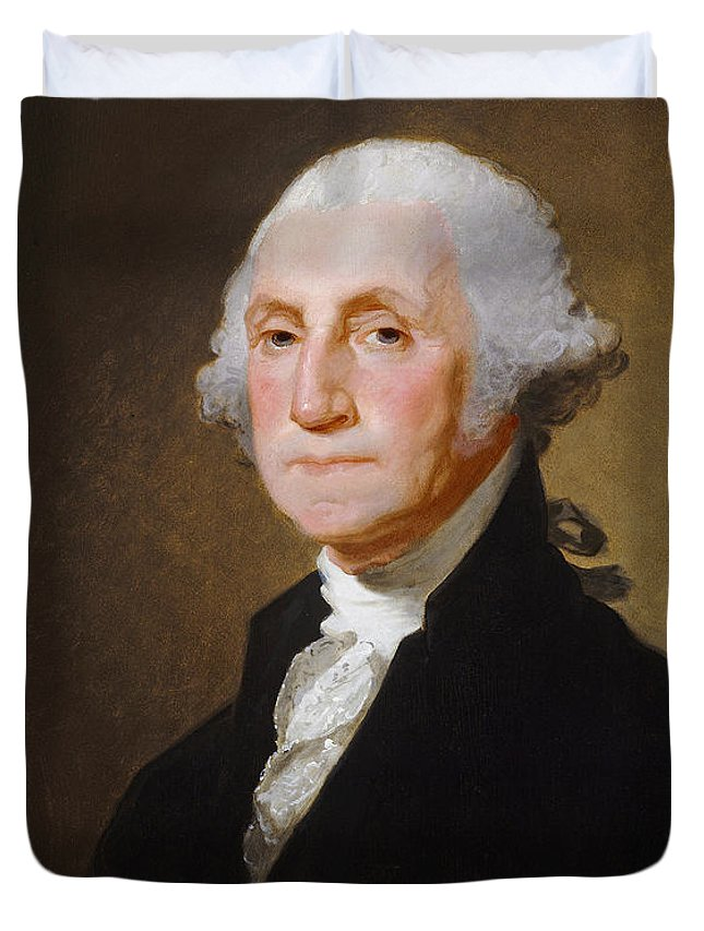George; Washington; 1st; First; Us; President; United; States; America; Usa; Male; Portrait; Half; Length; Leader Duvet Cover featuring the painting George Washington by Gilbert Stuart