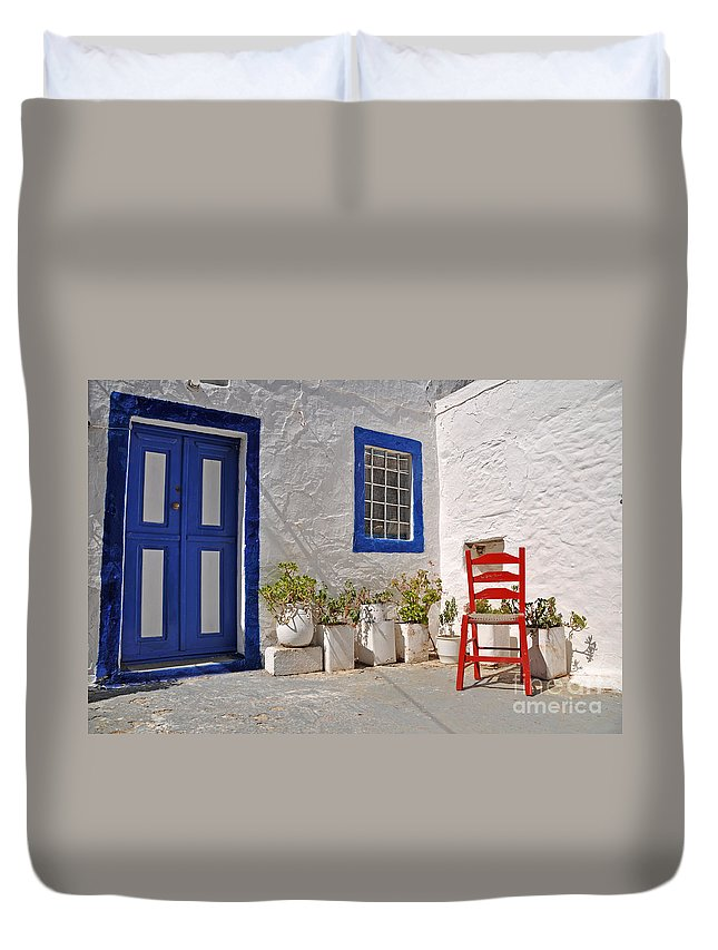 Greece Duvet Cover featuring the photograph Greek House by Luis Alvarenga