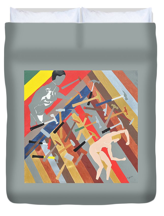 Male Duvet Cover featuring the painting Hammered by Erika Chamberlin