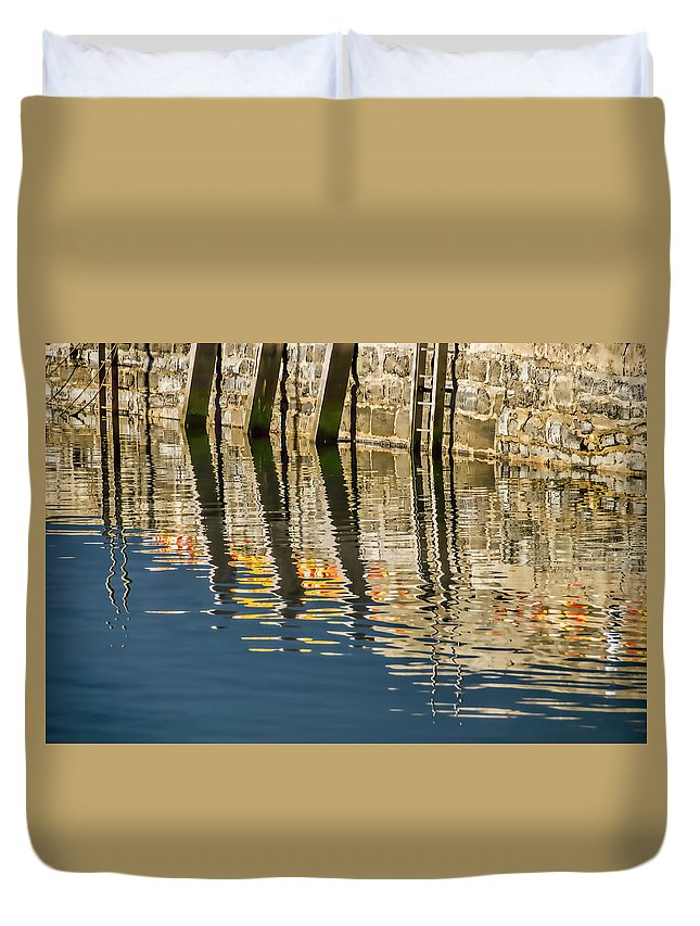 Lyme-regis Duvet Cover featuring the photograph Harbour Reflections by Susie Peek